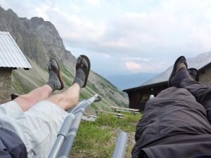 Ausruhen nach dem Aufstieg - Wanderausflug
