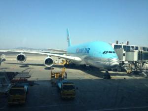 A380 nach Landung in Incheon / Seoul (Südkorea)