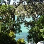 Blick von der Straße auf's strahlend blau-grüne Wasser ... perfekt