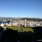 Blick von der Endstation der Kabelbahn auf Wellington