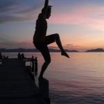Posing bei Sonnenuntergang am Steg (Diana)