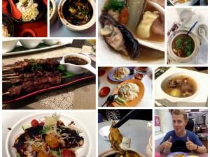 Essen ist in Singapur eines der beliebtesten Hobbys. Hier zu sehen u.a. Schildkrötensuppe, Frosch, Ochsenschwanz und gegrillter Fisch.
