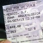 Busticket nach Teotihuacan (80 peso für Hin- und Rückfahrt)