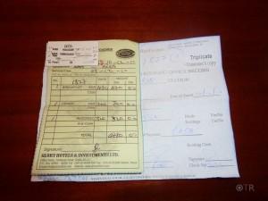 Mein Zugticket von Nairobi nach die Küste von Kenia - nach Mombasa.
