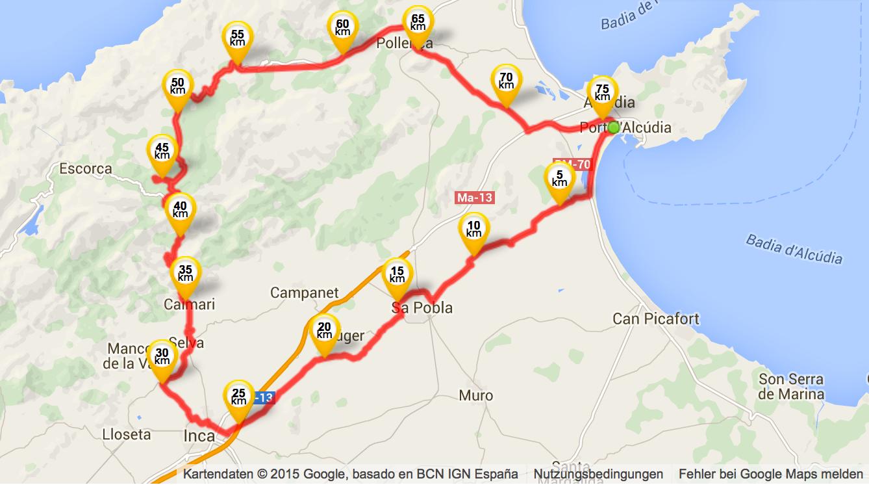 "Meine ""abgekürzte"" Tour - immerhin fast 80km"